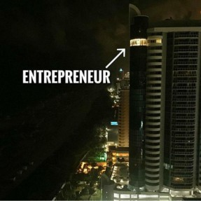 Entrepreneur with light on